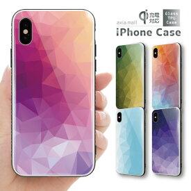 ガラスケース iPhone iPhone8 ケース iPhone XS ケース iPhone 11 Pro XR ケース TPUケース スマホケース ガラス 強化ガラス 背面ガラス 耐衝撃 おしゃれ 海外 トレンド グラデーション 幾何学模様 ペイント カッコイイ ピンク パープル ブルー
