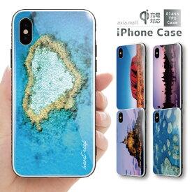 ガラスケース iPhone iPhone8 ケース iPhone XS ケース iPhone XR ケース TPUケース スマホケース ガラス 強化ガラス 背面ガラス 耐衝撃 おしゃれ 海外 トレンド 世界遺産 デザイン アンコールワット ハートリーフ ウユニ モンサンミッシェル