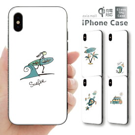 ガラスケース iPhone iPhone8 ケース iPhone XS ケース iPhone 11 Pro XR ケース TPUケース スマホケース ガラス 強化ガラス 背面ガラス 耐衝撃 おしゃれ 海外 トレンド SURF サーフ デザイン ハワイアン ハワイ Summer 西海岸 かわいい