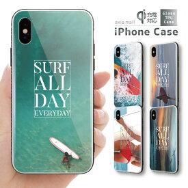 ガラスケース iPhone iPhone8 ケース iPhone XS ケース iPhone XR ケース TPUケース スマホケース ガラス 強化ガラス 背面ガラス 耐衝撃 おしゃれ 海外 トレンド SURF サーフ GIRL ガール 夏 太陽 夕焼け かわいい