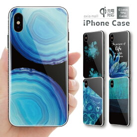 ガラスケース iPhone iPhone8 ケース iPhone XS ケース iPhone 11 Pro XR ケース TPUケース スマホケース ガラス 強化ガラス 背面ガラス 耐衝撃 おしゃれ 海外 トレンド アート デザイン 幾何学模様 ブルー ターコイズ カラー 不思議 かわいい