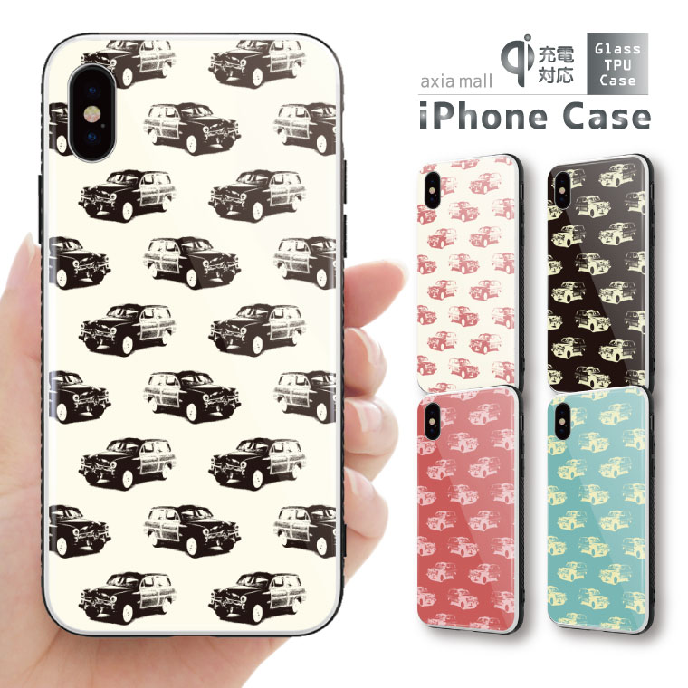 ガラスケース iPhone iPhone8 ケース iPhone XS ケース iPhone XR ケース TPUケース スマホケース ガラス 強化ガラス 背面ガラス 耐衝撃 おしゃれ 海外 トレンド クラシックカー デザイン 車 クラシック マルチ イラスト