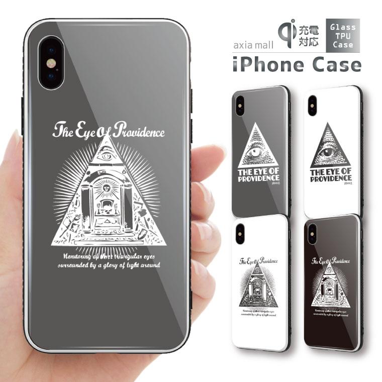 ガラスケース iPhone iPhone8 ケース iPhone XS ケース iPhone XR ケース TPUケース スマホケース ガラス 強化ガラス 背面ガラス 耐衝撃 おしゃれ 海外 トレンド Freemason フリーメイソン illuminati イルミナティ ZEELE 都市伝説