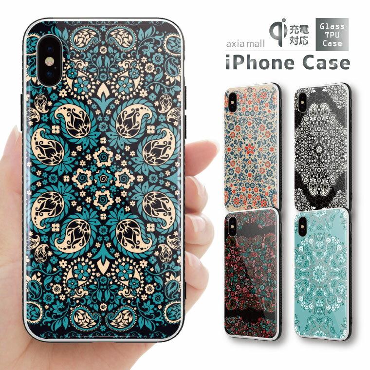 ガラスケース iPhone iPhone8 ケース iPhone XS ケース iPhone XR ケース TPUケース スマホケース ガラス 強化ガラス 背面ガラス 耐衝撃 おしゃれ 海外 トレンド ペイズリー Paisley デザイン 西海岸 イギリス 模様 バンダナ スカーフ
