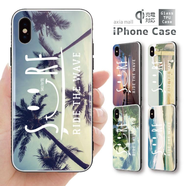 ガラスケース iPhone iPhone8 ケース iPhone XS ケース iPhone XR ケース TPUケース スマホケース ガラス 強化ガラス 背面ガラス 耐衝撃 おしゃれ 海外 トレンド SMILE SURF デザイン スマイル ハワイアン サーフ トレンド アロハ