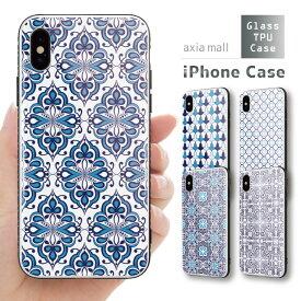 ガラスケース iPhone iPhone8 ケース iPhone XS ケース iPhone 11 Pro XR ケース TPUケース スマホケース ガラス 強化ガラス 背面ガラス 耐衝撃 おしゃれ 海外 トレンド モロッカンタイル モロッコ柄 ボヘミアン