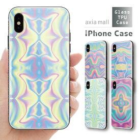 ガラスケース iPhone iPhone8 ケース iPhone XS ケース iPhone XR ケース TPUケース スマホケース ガラス 強化ガラス 背面ガラス 耐衝撃 おしゃれ 海外 トレンド 幾何学模様 デザイン アート 不思議 マーブル