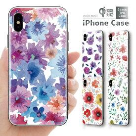 ガラスケース iPhoneXR iPhone8 ケース iPhone XS ケース iPhone XR ケース TPUケース スマホケース ガラス 強化ガラス 背面ガラス 耐衝撃 おしゃれ 海外 トレンド お花柄 ボタニカル Flower バラ ピンク かわいい トレンド