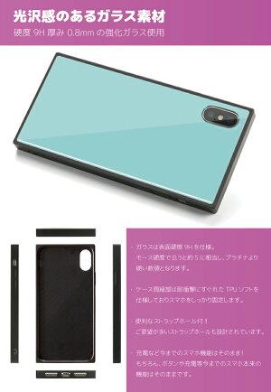 スクエア型背面ガラスケースTPUケースiPhoneXRiPhone8ケースiPhoneXSケースiPhone11ProXRケーススマホケース強化ガラス背面ガラス耐衝撃四角おしゃれ海外かわいいモダンアートモダンチェック柄スクエアトレンドアイフォンケース