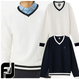 【19春夏】フットジョイ FJ-S19-M02 Vネック ニットセーター(長袖セーター)【11655】
