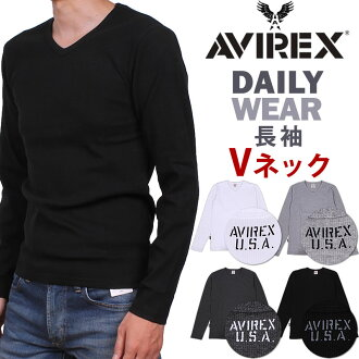 V neck long sleeve T shirt AVIREX / avirex / 617394 fs3gm