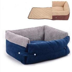 犬のベッド 猫 ベッド 多機能 ペット寝具 お布団 スクエア クッションベッド サイズL約20*46*70cm ブラウン/紺色 秋冬防寒 ふわふわ 起毛素材 取り外せる 洗える