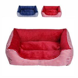 ペットベッド 犬のベッド 猫 ベッド ペット寝具 縞模様 スクエア ソファベッド サイズS、M、L 赤/ブルー 通気性良い 防寒保温 四季通用