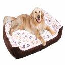 秋冬 犬ベッド 猫ベッド ペットベッド スクエア クッションベッド サイズ約60*45*12cm 通気 取り外し可 ふわふわ 寒さ…