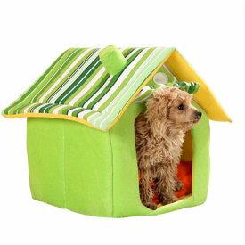 犬ベッド 猫ベッド ハウス おうち 戸建タイプ ペットベッド サイズM 軽量 折りたためる 取り外し可 ふわふわ 全5色 防風防寒 保温