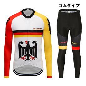 サイクルジャージ 上下セット 長袖サイクリングウェア 男性用 自転車ウエア ビブパンツ ロードバイクウエア 吸汗速乾 パッド付き 通気性良い