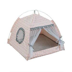 テント 猫用テント 猫 ベッド 犬 小屋 ドーム型ベッド ペットハウス キャット ベッド マット ペット用テント 室内用 通気性良い 夏 冬 通年用 お洒落