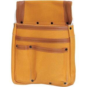 本革製マチ付釘袋 SHMK-BR【大工道具 収納用品 自社 革腰袋釘袋サック 藤原産業 SHMK-BR】