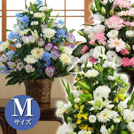 季節のお花 おまかせ お供えフラワーアレンジメント Mサイズ