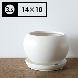 ボールポット(3.5号植木鉢)受皿付き 観葉植物 シンプル 植え替え おしゃれ
