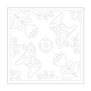 Olympus(オリムパス)刺し子花ふきん布パック(白)北欧モチーフ ダーラナホース H-1029