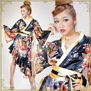 売り切り商品 花魁 衣装 コスプレ【cwa13-lon】0013 4246 着物ドレス:ロング 横あきフリル (フレア 袖小)和柄 花柄 …