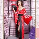 花魁 衣装 コスプレ【cwa35-lon】0309 着物 ドレス:ロング 変形(タイト 袖大) 和柄 花車 ビシュー付≫ 和柄 ドレス …