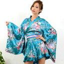 花魁 衣装 コスプレ【cwa32】着物風ミニサテン よさこい 衣装 0323 和柄 着物ドレス レディース 大きいサイズ ステー…