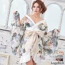 0713シフォン花柄着物ドレス 和柄 衣装 ダンス よさこい 花魁 コスプレ キャバドレス