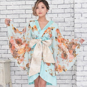 0713シフォン花柄着物ドレス和柄衣装ダンスよさこい花魁コスプレキャバドレス