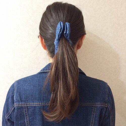 【メール便送料無料】大きなデニムリボンのバナナクリップドットブルー・ライトブルー・ブルーヘアアクセサリー*ヘアクリップ*ヘアピン*バレッタ*髪飾り*約14cm
