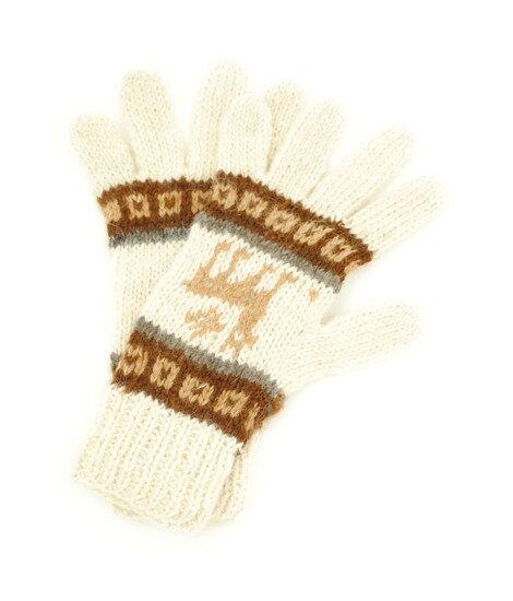 アルパカ純毛100%手編み手袋(きなりLmg727)
