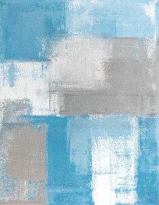 【絵画】アートパネル Grey and Blue Abstract Art Painting/アート 壁掛け 飾る キャンバス リビング 玄関 インテリア プレゼント ギフト 抽象画 デザイン 4Lサイズ 巣ごもり