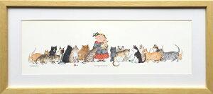 【絵画】ダイアン パターソン キティ コーナー/インテリア 壁掛け 壁飾り 額入り アート リビング 玄関 トイレ プレゼント ギフト おしゃれ 飾る ポスター 猫 Mサイズ 巣ごもり