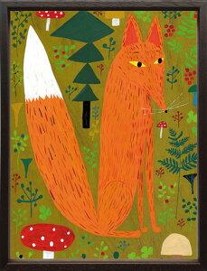 【絵画】マッティ・ピックヤムサ きつね/額入り アートフレーム 壁掛け 飾る リビング 玄関 インテリア 北欧 動物 かわいい プレゼント ギフト ポスター Mサイズ 巣ごもり