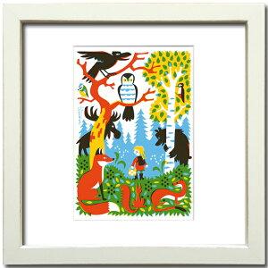 【絵画】【ゆうパケット】 ティモ・マンッタリ フィンランド・森の奥/額入り アートフレーム 壁掛け 飾る リビング 玄関 トイレ インテリア 北欧 フクロウ きつね 動物 かわいい プレゼント