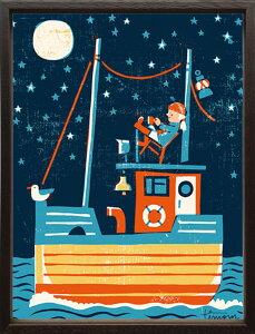 【絵画】ティモ・マンッタリ パイレーツ/額入り アートフレーム 壁掛け 飾る リビング 玄関 インテリア 北欧 船 海賊 夜 月 かわいい プレゼント ギフト ポスター Mサイズ 巣ごもり