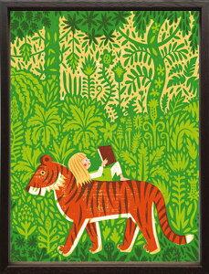 【絵画】ティモ・マンッタリ ジャングル/額入り アートフレーム 壁掛け 飾る リビング 玄関 トラ 密林 インテリア 北欧 かわいい プレゼント ギフト ポスター Mサイズ 巣ごもり