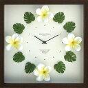 時計 壁掛け ハワイアン クロック プルメリア イエロー/掛け時計 置き時計 ウォールクロック インテリア 壁掛け 時刻 ギフト プレゼン…
