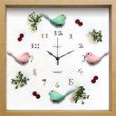 【時計 壁掛け】ディスプレイ クロック バード/グリーン&ピンク/掛け時計 置き時計 ウォールクロック インテリア 壁…