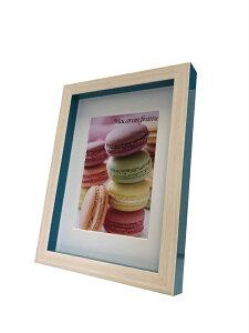 フォトフレーム ゆうパケット マカロンフレームI ブルー 2L L判サイズマット付(Macaron frame Blue)/額入り 絵画 絵 壁掛け アート リビング 玄関 トイレ インテリア かわいい 壁飾り 癒やし プレゼ