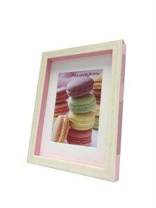 フォトフレーム ゆうパケット マカロンフレームI ピンク 2L L判サイズマット付(Macaron frame Pink)/額入り 絵画 絵 壁掛け アート リビング 玄関 トイレ インテリア かわいい 壁飾り 癒やし プレゼ