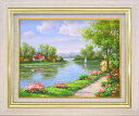 手描き油絵 モリンガ 花畑に彩られて1 F6 画家本人手描き絵画/額入り 額装込 絵画 絵 風景画 壁掛け アート リビング …