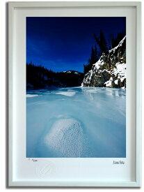 版画 絵画 北極圏の水のある風景001 アラスカ/インテリア 壁掛け 額入り 額装込 風景画 油絵 ポスター アート アートパネル リビング 玄関 プレゼント モダン アートフレーム おしゃれ 飾る Mサイズ