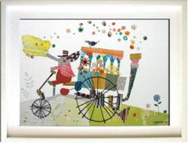アートフレーム Colobockle ぞうの花車/インテリア 壁掛け 額入り 額装込 風景画 油絵 ポスター アート アートパネル リビング 玄関 プレゼント モダン アートフレーム おしゃれ 飾る LLサイズ