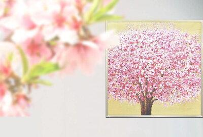 絵画オイルペイントアート「ゴールデンサクラ」桜油絵インテリア壁掛け額入り額装込風景画手描きリビング玄関プレゼントギフトおしゃれモダンアートフレーム飾る花さくらの木お祝い引越新居5Lサイズ