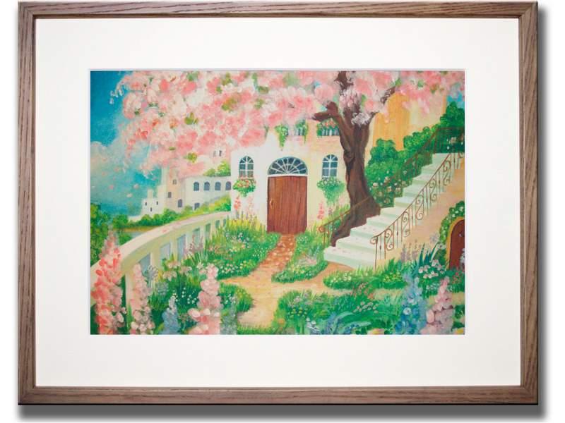 絵画 花のある庭/インテリア 壁掛け 額入り 油絵 ポスター アート アートパネル リビング 玄関 プレゼント モダン アートフレーム おしゃれ Mサイズ