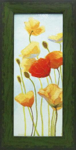 【絵画】シャーリー ノヴァック ポピー5/インテリア 壁掛け 額入り 油絵 ポスター アート アートパネル リビング 玄関 プレゼント モダン アートフレーム おしゃれ【M】
