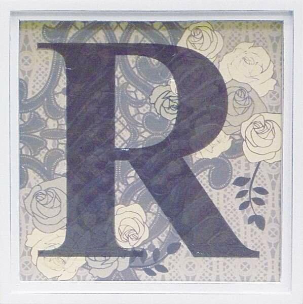 アルファベット アートフレーム R/インテリア 壁掛け 額入り 油絵 ポスター アート アートパネル リビング 玄関 プレゼント モダン アートフレーム おしゃれ【S】