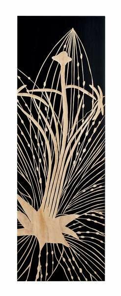 ウッド スカルプチャー アート リリー (ブラック)/インテリア 壁掛け 額入り 油絵 ポスター アート アートパネル リビング 玄関 プレゼント モダン アートフレーム おしゃれ【M】
